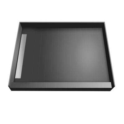 48 in. x 48 in. Single Threshold Shower Base with Left Drain and Tileable Trench Grate