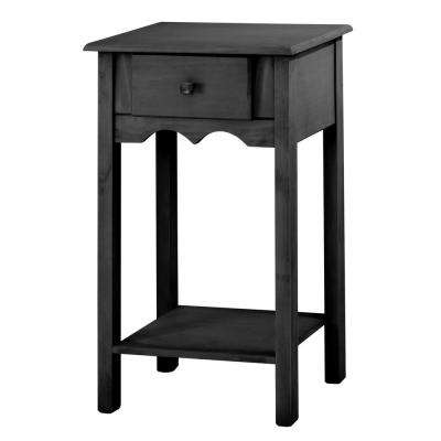 Jay 35.43 in. Tall Black Wash End Table with 1-Full Extension Drawer