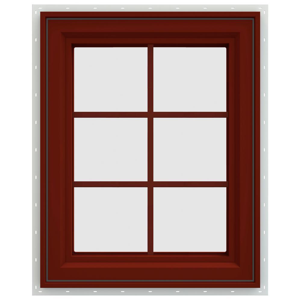 23.5 in. x 29.5 in. V-4500 Series Left-Hand Casement Vinyl Window with Grids - Red