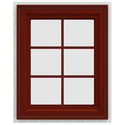 23.5 in. x 35.5 in. V-4500 Series Left-Hand Casement Vinyl Window with Grids - Red