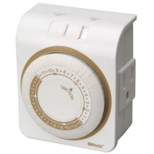 Woods 24-Hour Indoor Mechanical Lamp and Appliance Timer 3-Conductor - White by Woods
