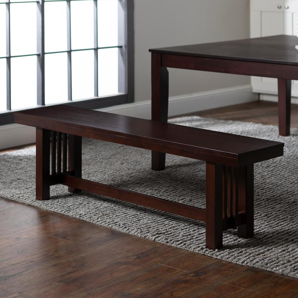 WalkerEdisonFurnitureCompany Walker Edison Furniture Company Meridian Cappuccino Bench