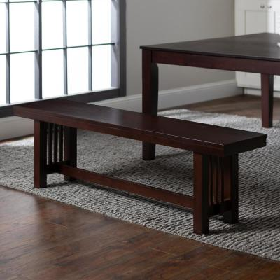 """60"""" Transitional Wood Dining Entryway Bench - Cappuccino"""