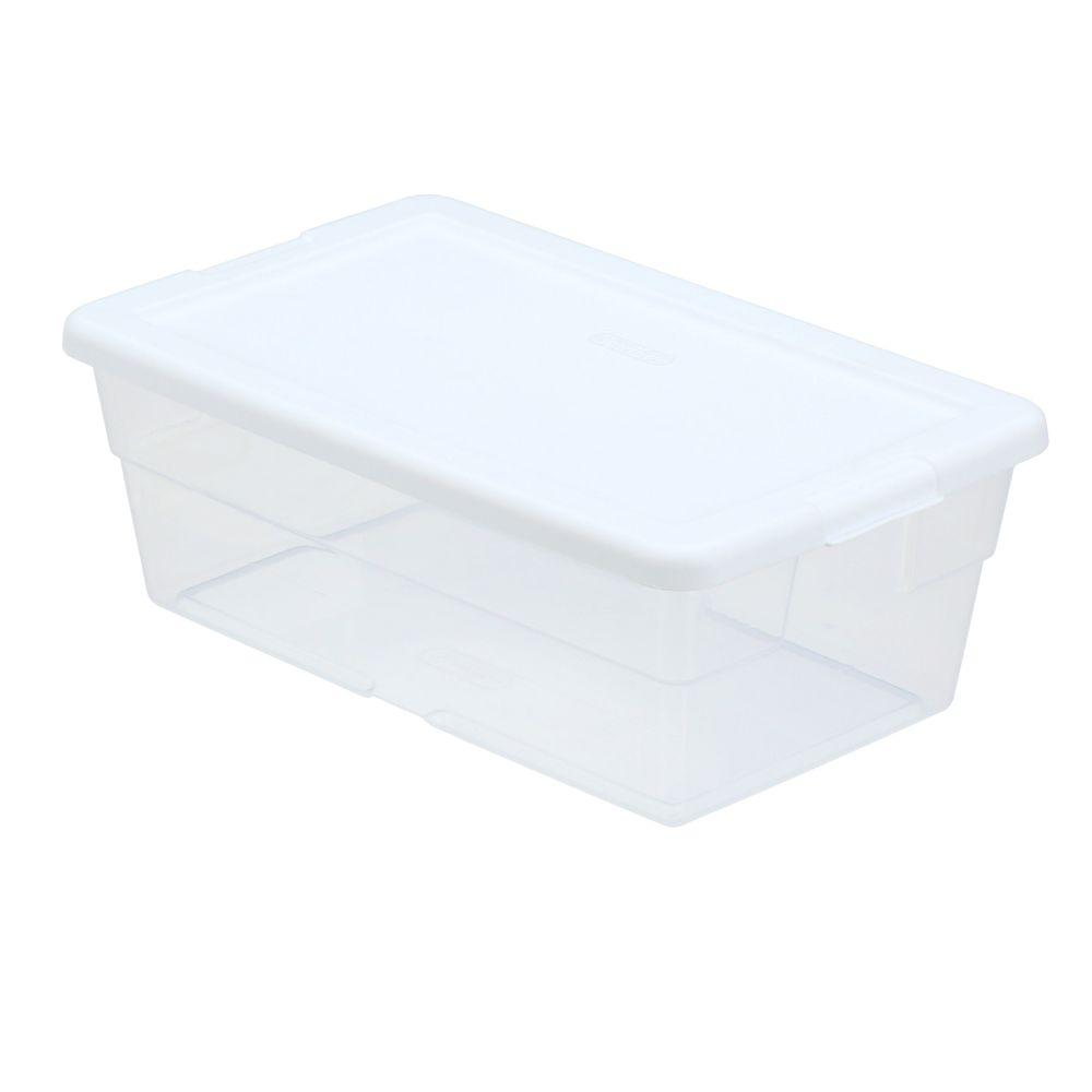 6 Qt Storage Box In White And Clear Plastic