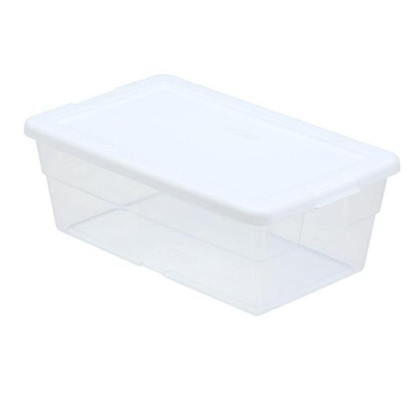 Sterilite 6 Qt Storage Box In White And Clear Plastic 16428960 The Home Depot