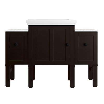 Chambly 48 in. W Vanity in Black Forest with Ceramic Vanity Top in White with White Basin