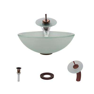 Glass Vessel Sink in Frost with Waterfall Faucet and Pop-Up Drain in Oil Rubbed Bronze