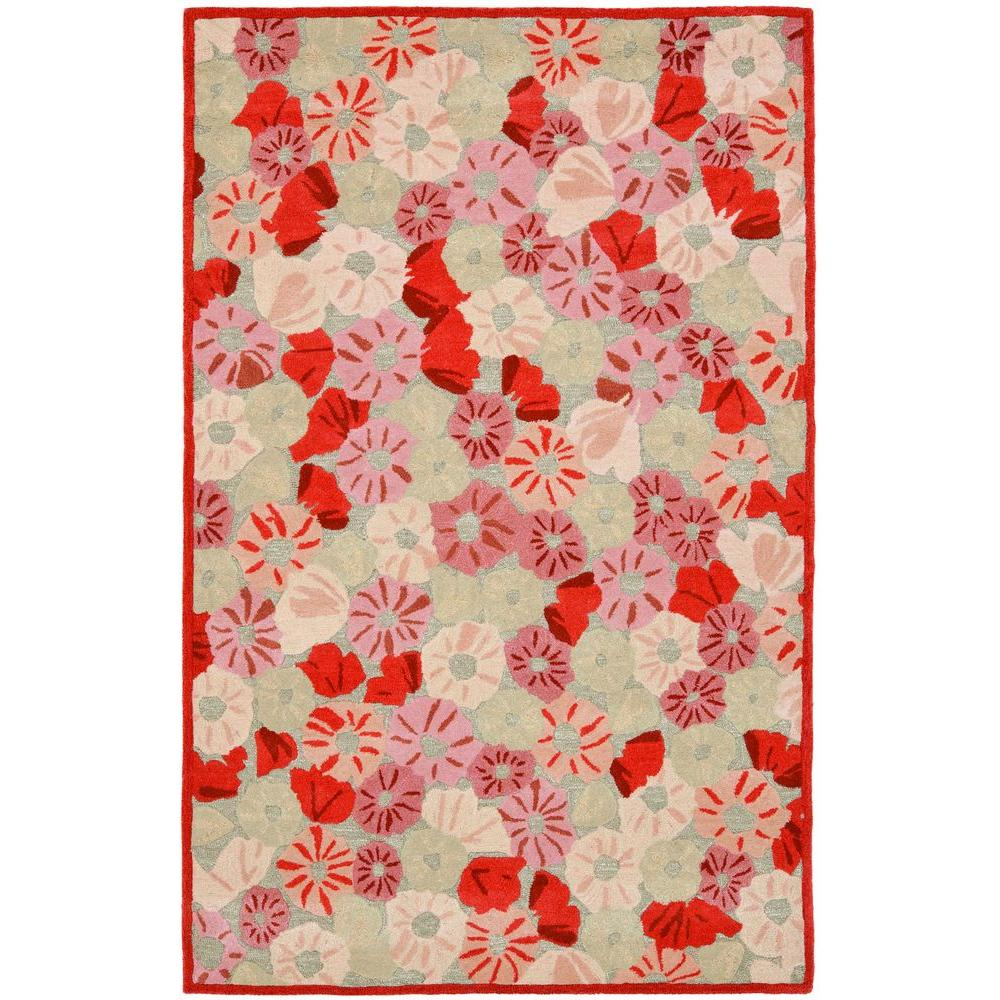 Poppy Field Cayenne Red 5 Ft X 8 Area Rug