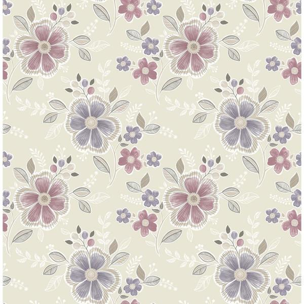 Brewster Chloe Purple Floral Wallpaper Sample 2704-22203SAM