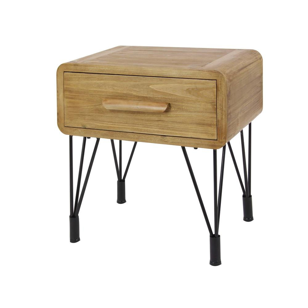 Null Modern Wood And Metal Side Table