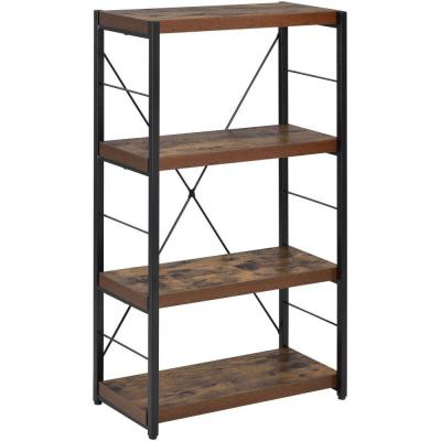 Industrial 42.52 in. Brown Wood 4-shelf Standard Bookcase with Open Back