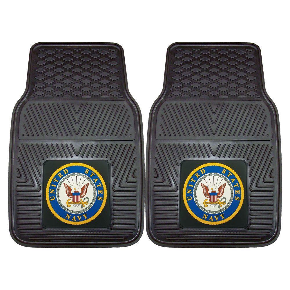 U.S. Navy Black Heavy Duty 2-Piece 17 in. x 27 in. Vinyl Car Mat