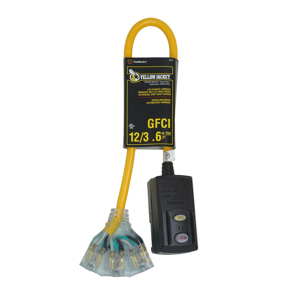 Yellow Jacket 2 ft. 12/3 SJTW Right Angle GFCI Heavy-Duty Cord with Multi-Outlet (3) Power Light Block