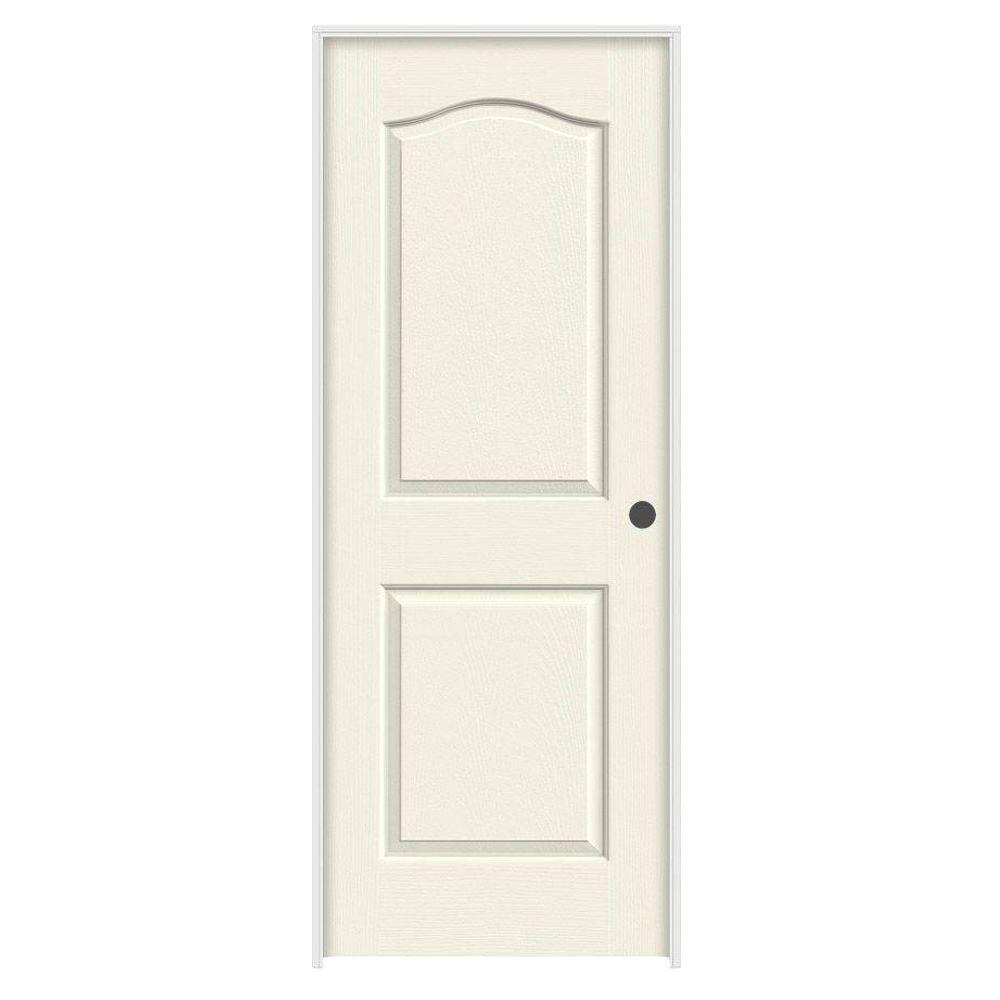 Jeld wen 30 in x 80 in camden vanilla painted left hand textured solid core molded composite for Solid core interior doors soundproof