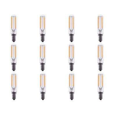 15-Watt Equivalent T6 Dimmable Tubular Clear Filament Glass LED Light Bulb Warm White 2700K (12-Pack)