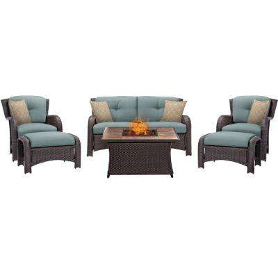 Strathmere 6-Piece Woven Patio Seating Set with Tile-Top Fire Pit and Ocean Blue Cushions