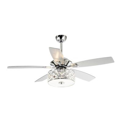 Huber 52 in. Indoor Chrome Downrod Mount Crystal Chandelier Ceiling Fan With Light and Remote Control