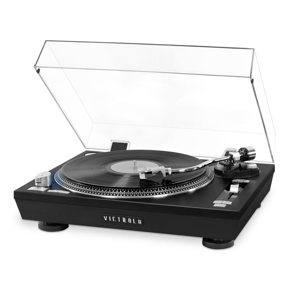 Pro Series USB Record Player with 2-Speed Turntable and Dust Cover Our Victrola 2-Speed belt drive Pro USB Record Player is premium quality for any DJ or audio enthusiast. Enjoy professional components and adjustments. USB to PC Encoding with the software included or wirelessly stream through your favorite Bluetooth speaker or headphones.
