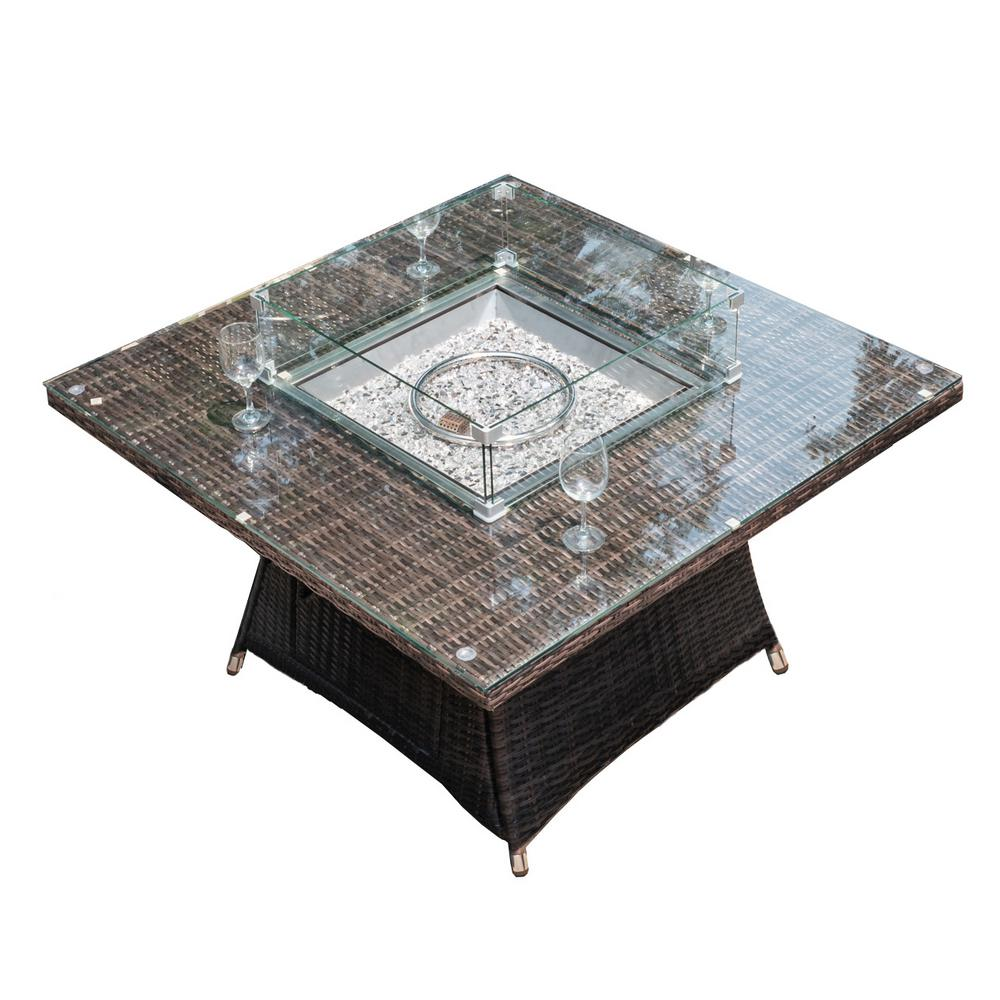 DIRECT WICKER Jade 47 in. x 47 in. Square Propane Gas Fire Pit Table with Tempered Glass Surround