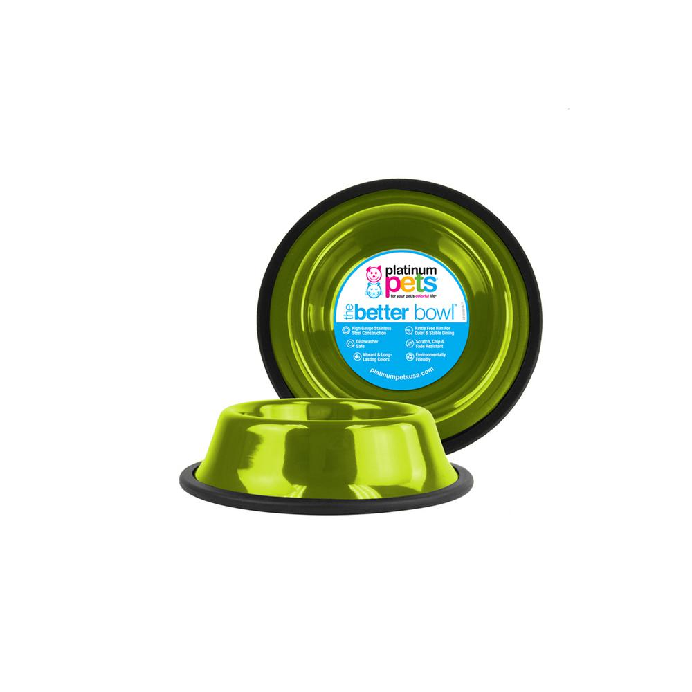 Platinum Pets 1.25 Cup Non-Tip Stainless Steel Dog/Cat Bowl, Corona Lime
