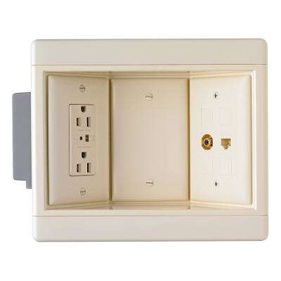 Plastic Light Almond 3-Gang Recessed TV Box Kit