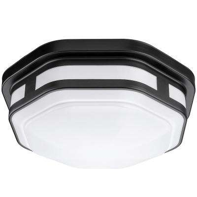 11 in. Black Octagon Integrated LED Outdoor Flush Mount with Color Selectable Feature