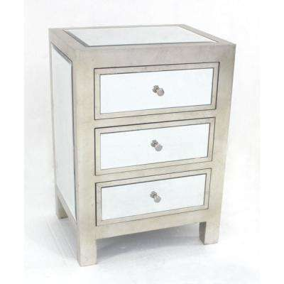 Mariana 28.5 in. Silver Glass End Table