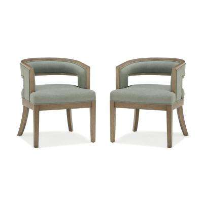 Brunswick Sage Gray, Walnut Rounded Back Accent Chair (2-Pack)