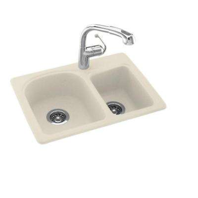 Drop-In/Undermount Solid Surface 25 in. 1-Hole 60/40 Double Bowl Kitchen Sink in Bone