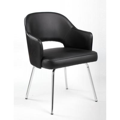 Designer Style Guest Chair. Black Caressoft Vinyl. Chrome Finish Legs