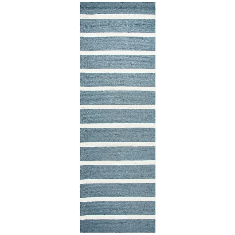 Azzura Hill Gray Striped 3 ft. x 8 ft. Outdoor Runner