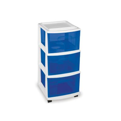 14.25 in. W x 25.5 in. H White 3-Drawer Medium Cart with Blue Drawers (3-Pack)