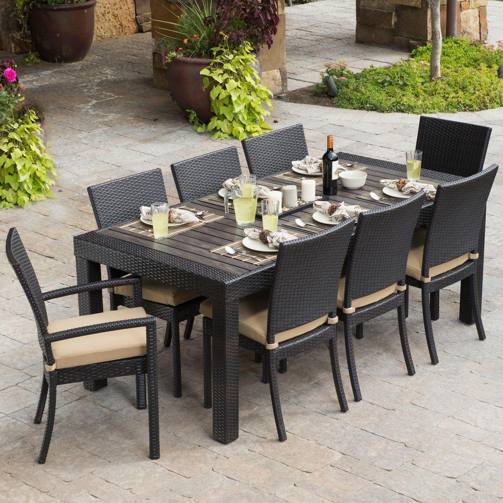 RST Brands Deco 9-Piece Patio Dining Set with Delano Beige Cushions