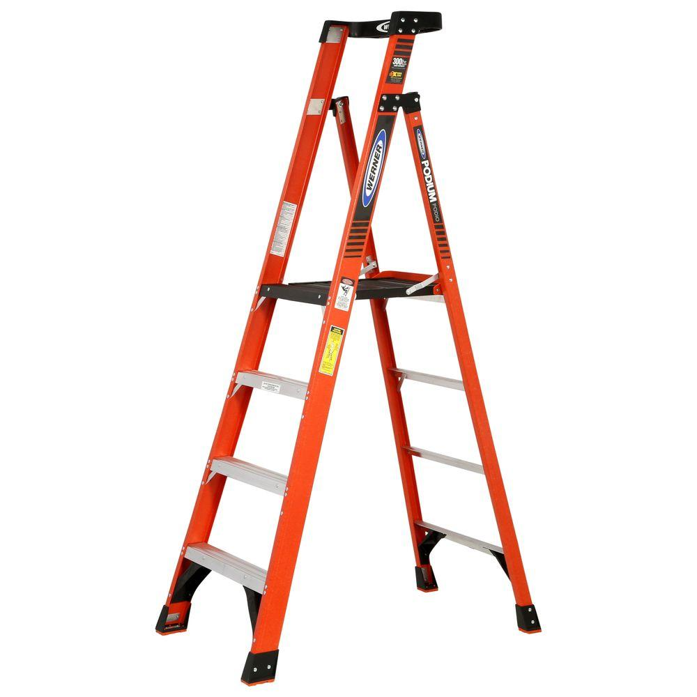 Werner 10 ft  Reach Fiberglass Podium Ladder with 300 lb  Load Capacity  Type IA Duty Rating (Comparable to 6 ft  Stepladder)