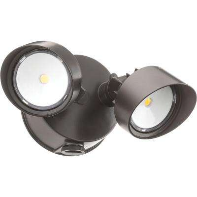 OLF 2RH 120-Volt Bronze Outdoor Integrated LED Round Wall Mount Flood Light with Dusk to Dawn Photocell
