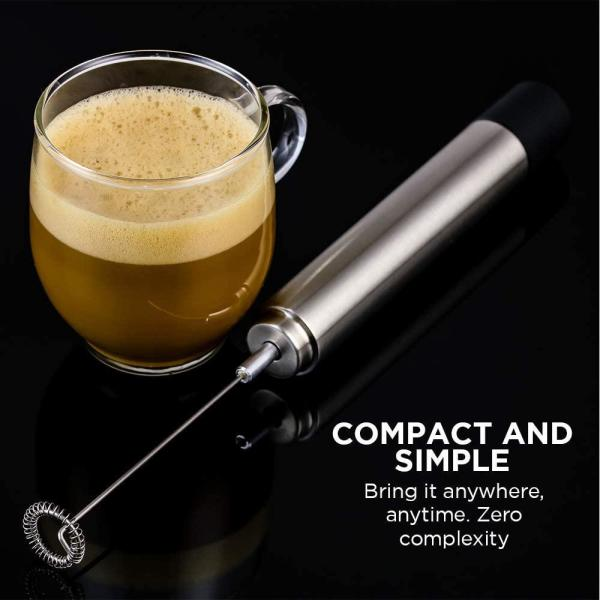 Ovente-Stainless Steel Milk Frother, Coffee Mixer Wand, Silver (FRS1020B)