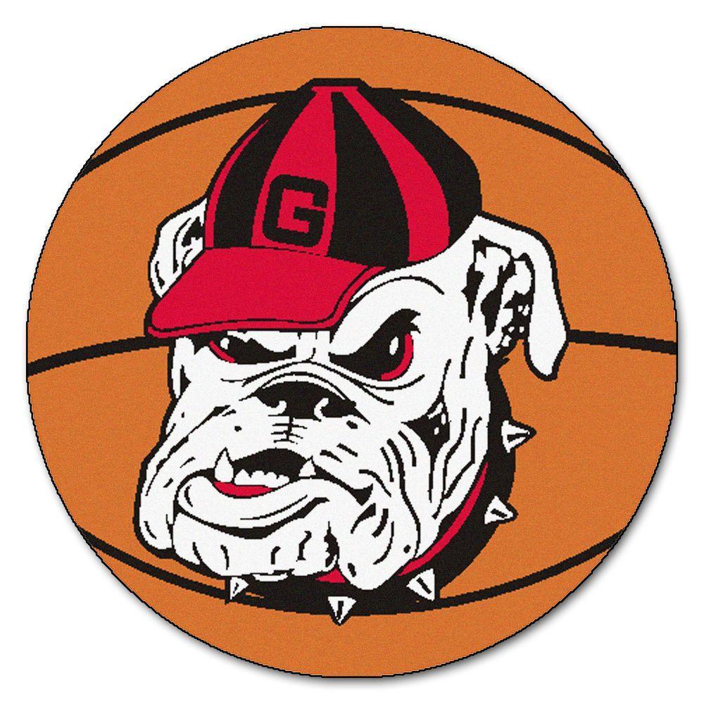NCAA University of Georgia Bulldog Logo Orange 2 ft. x 2 ft. Round Area Rug