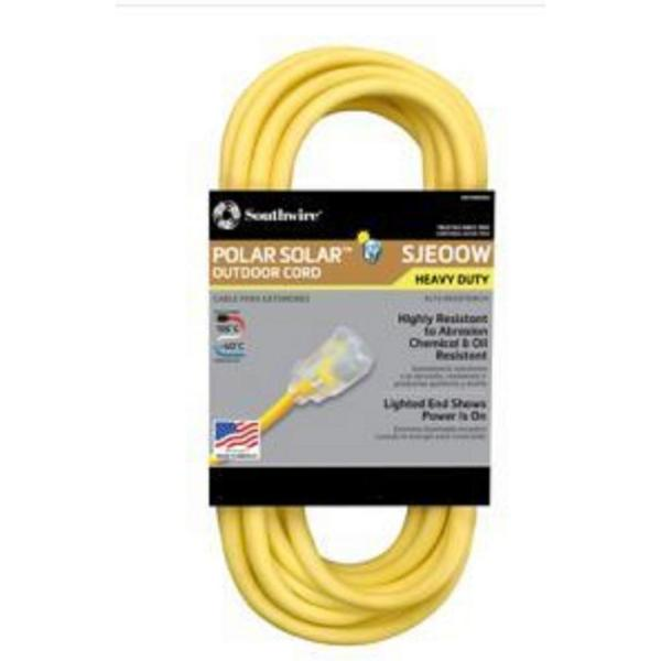 100 ft. 10/3 SJEOW Outdoor Heavy-Duty T-Prene Extension Cord with Power Light Plug