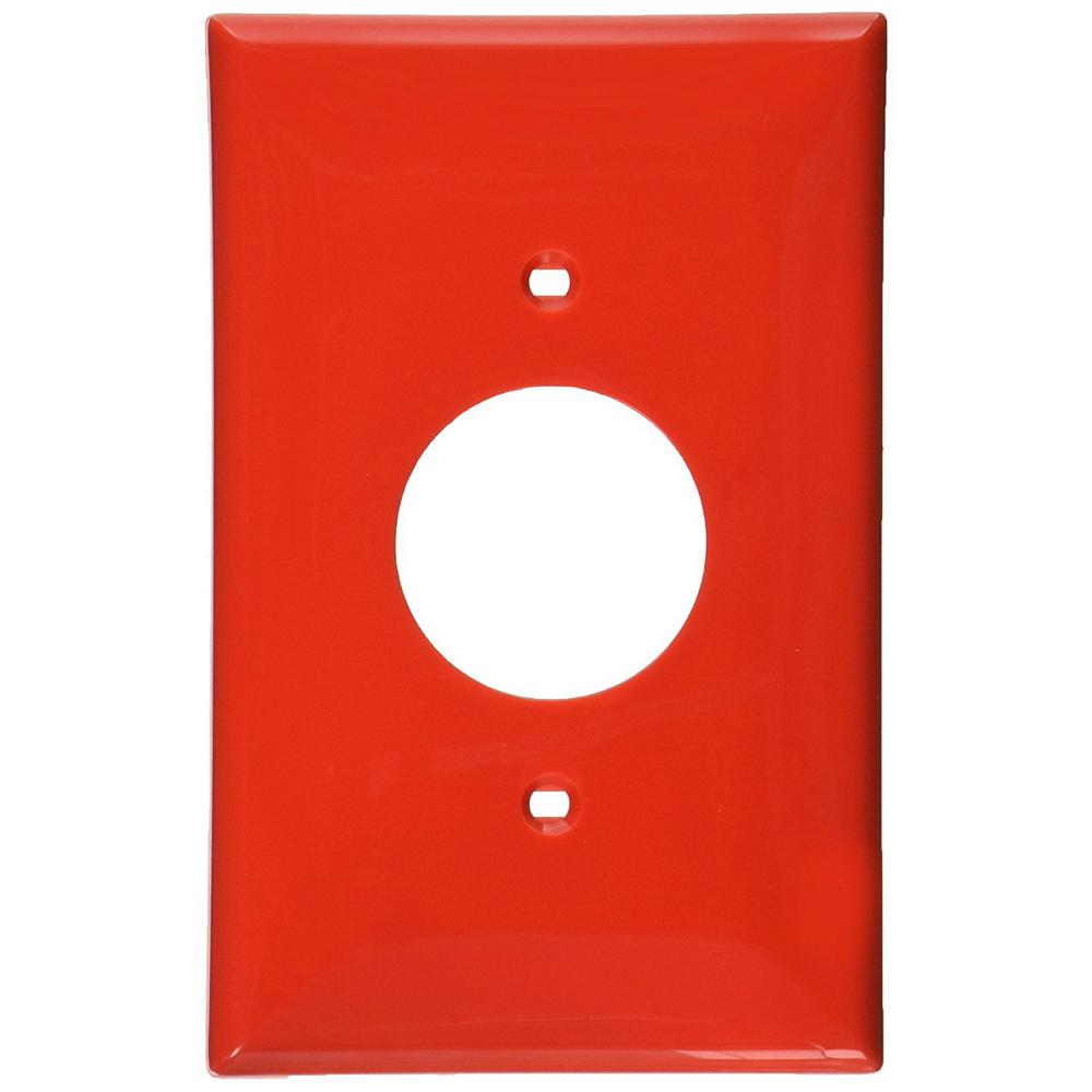 1-Gang 1 Single Receptacle, Midway Size Nylon Wall Plate - Red