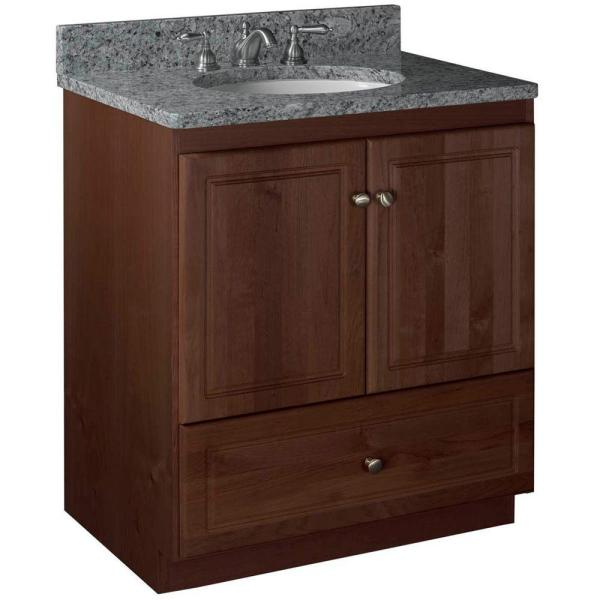 Ultraline 30 in. W x 21 in. D x 34.5 in. H Vanity with No Side Drawers Cabinet Only in Dark Alder