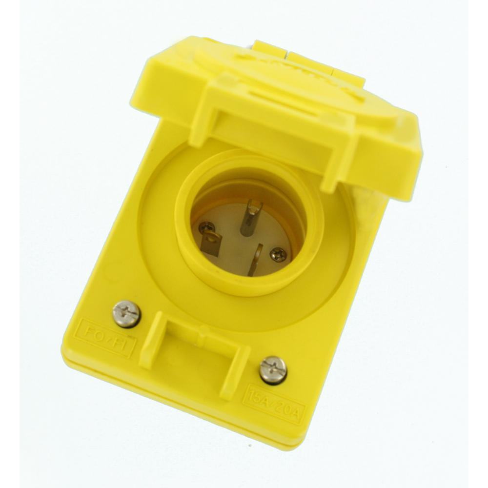Leviton 20 Amp 125-Volt Wetguard Straight Blade Grounding Single Inlet Cover, Yellow
