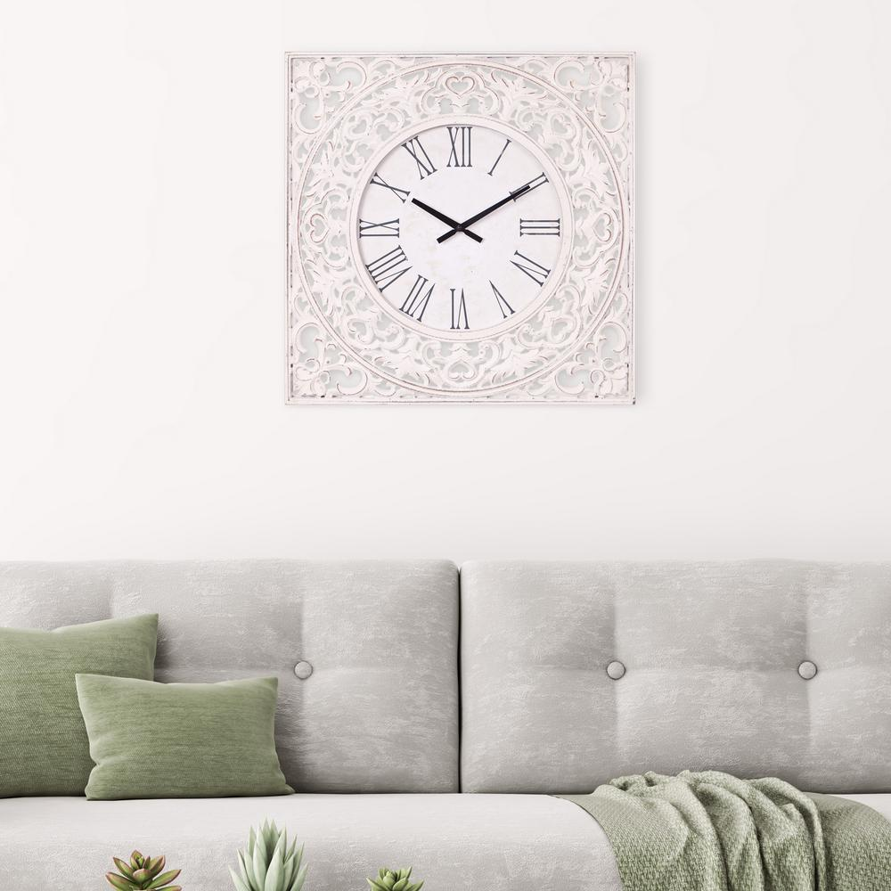 Ornate Wood Carved Distressed White Wall Clock
