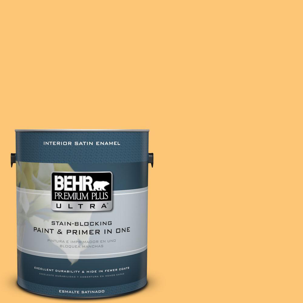 BEHR Premium Plus Ultra 1-gal. #BIC-42 Liquid Gold Satin Enamel ...