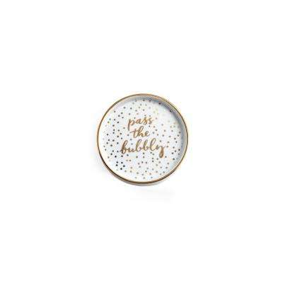 Let's Do Brunch White/Gold Wine Coaster