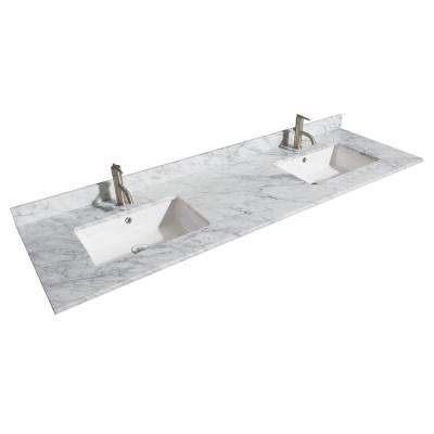 Margate 72 in. W x 22 in. D Marble Double Basin Vanity Top in White with White Basins