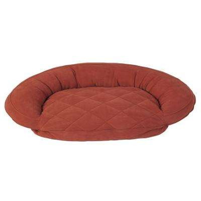 X-Large Earth Red Microfiber Quilted Bolster Bed with Moister Protection