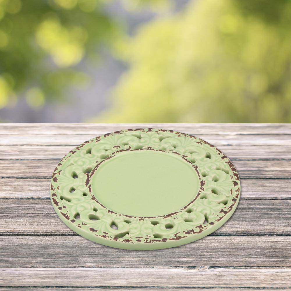 Ceramic Green Fluer-de-lis Candle Plate