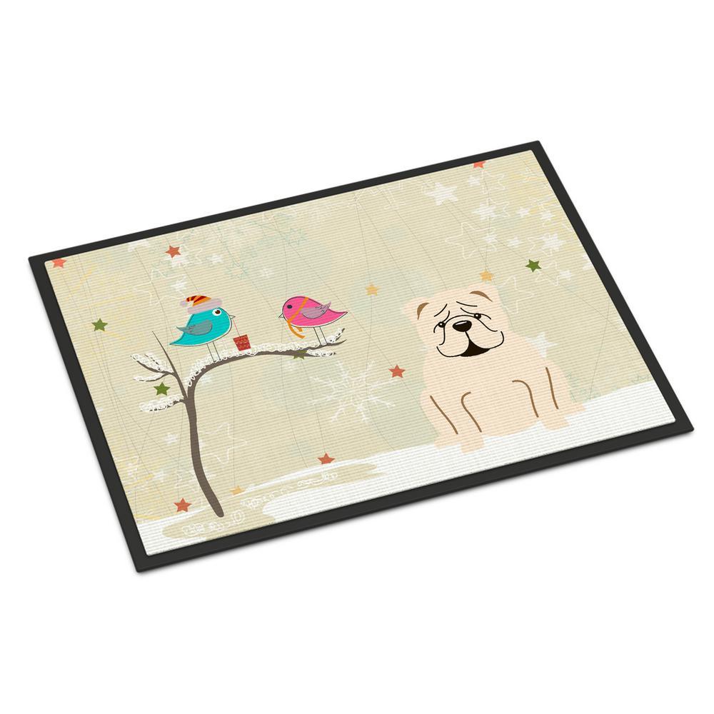 18 in. x 27 in. Indoor/Outdoor Christmas Presents between Friends English Bulldog White Door Mat
