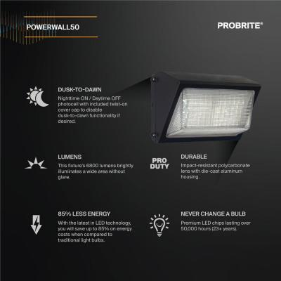 High-Output 450-Watt Equivalent Integrated Outdoor LED Wall Pack, 6800 Lumens, Dusk to Dawn Outdoor Security Light