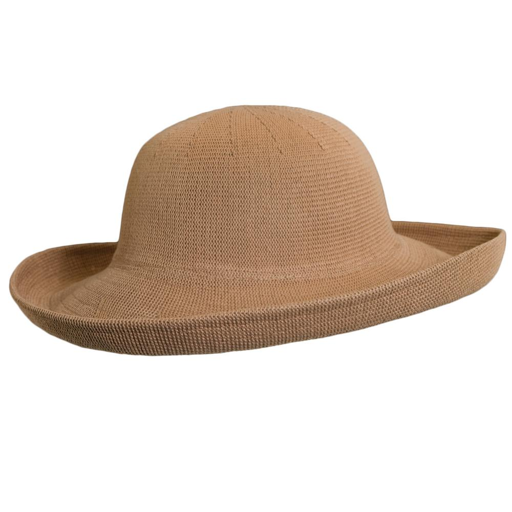 57b6c41e Scala Knitted Poly Straw Big Brim-LC541-DESERT - The Home Depot